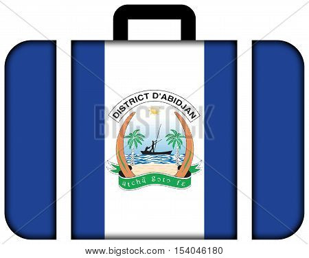 Flag Of Abidjan, Ivory Coast. Suitcase Icon, Travel And Transportation Concept