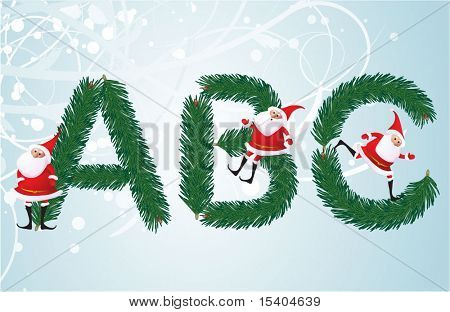 Christmas decorative fir-tree ABC with funny Santas. Letters A, B, C. Vector.