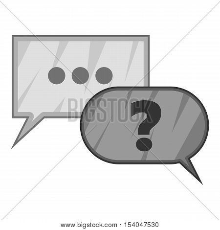 Question and answer marks with speech bubbles icon. Gray monochrome illustration of question and answer vector icon for web design