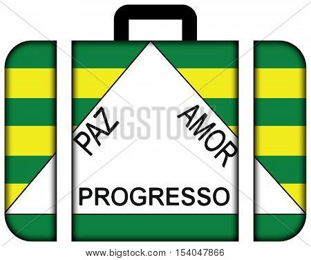 Flag Of Ferros, Minas Gerais State, Brazil. Suitcase Icon, Travel And Transportation Concept