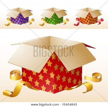 Opened decorated gift box with golden ribbons. Red, green and blue colored vector set.