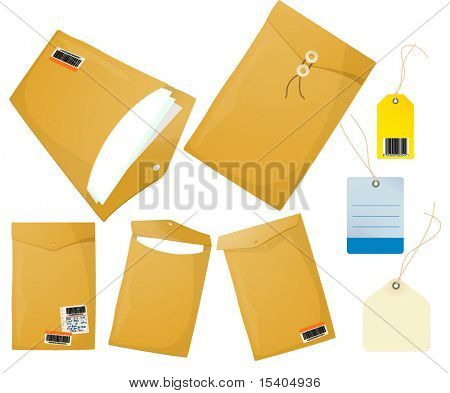 Postal envelopes. Vector.