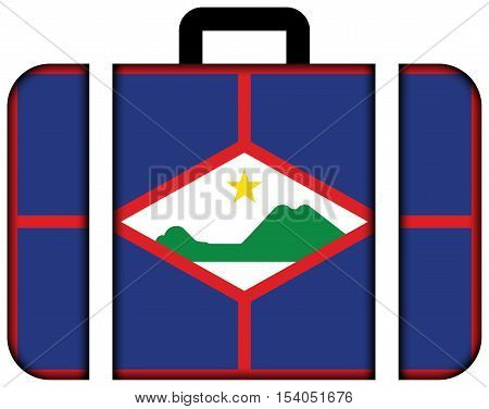 Flag Of Sint Eustatius, Netherlands. Suitcase Icon, Travel And Transportation Concept