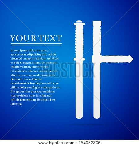 Police baton or police nightstick flat icon on blue background. Vector Illustration