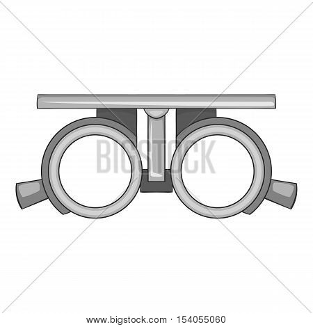Frame for checking vision icon. Gray monochrome illustration of frame for cheking vision vector icon for web design