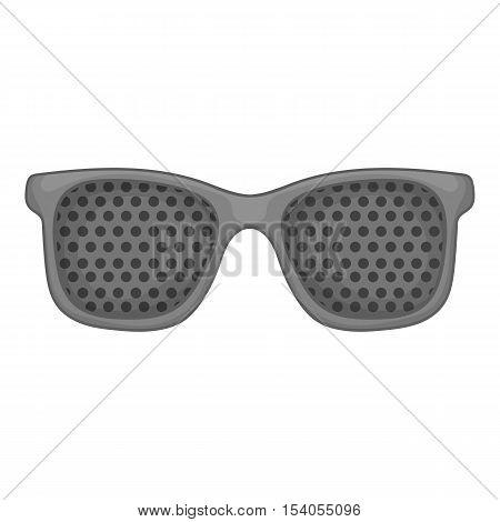 Perforating glasses icon. Gray monochrome illustration of perforating glasses vector icon for web design