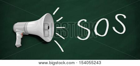 3D rendered megaphone. SOS written on blackboard with Megaphone.