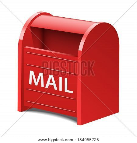 Vector red mailbox, postbox, email realistic icon