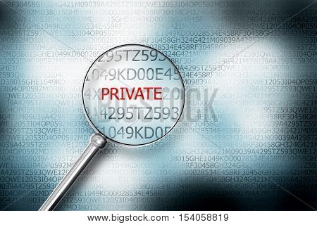 reading private on screen magnifying glass 3D Illustrastion