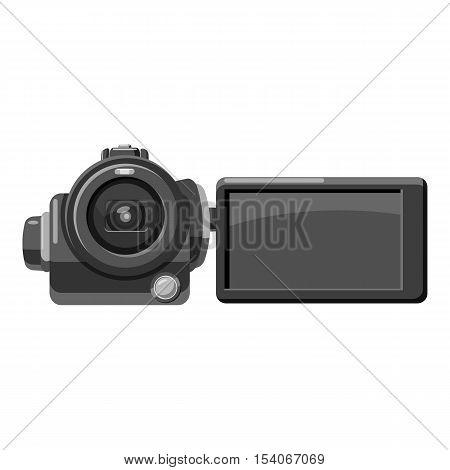 Digital video camera icon. Gray monochrome illustration of digital video camera vector icon for web