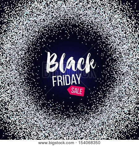 Black Friday sale banner with silver glitter. Vector stock illustration.