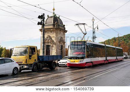 PRAGUE, CZECH REPUBLIK - OCTOBER 19, 2016: Road Traffic during rush hour on a bridge in the center of Prague
