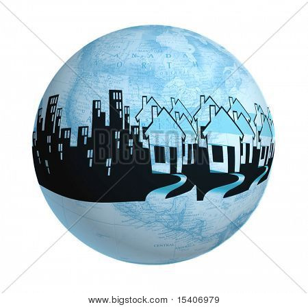 Detailed Globe Ornament With Houses and Buildings