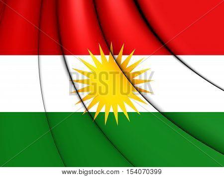 3D Flag of Kurdistan. 3D Illustration. Close Up.