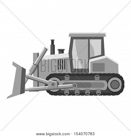 Bulldozer icon. Gray monochrome illustration of bulldozer vector icon for web