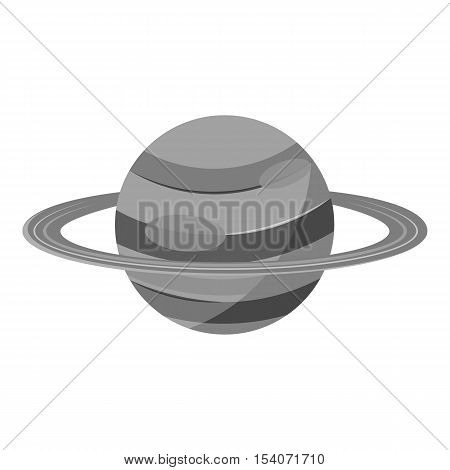 Saturn planet icon. Gray monochrome illustration of Saturn planet vector icon for web