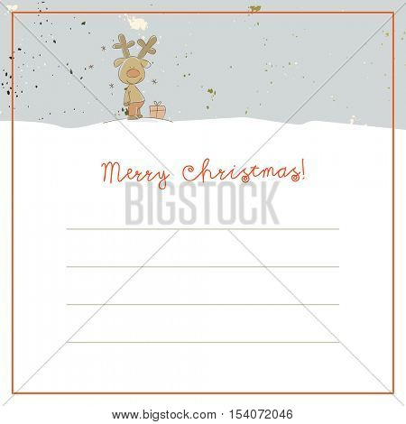 Christmas deer, Merry Christmas greeting card, with space for text insertion. Sketchy doodle style hand drawn seasonal vector illustration.