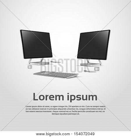 Desktop Logo Modern Computer Workstation Icon Vector Illustration
