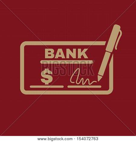 The check icon. Checkbook and cheque, pay, payment, paying symbol. Flat Vector illustration
