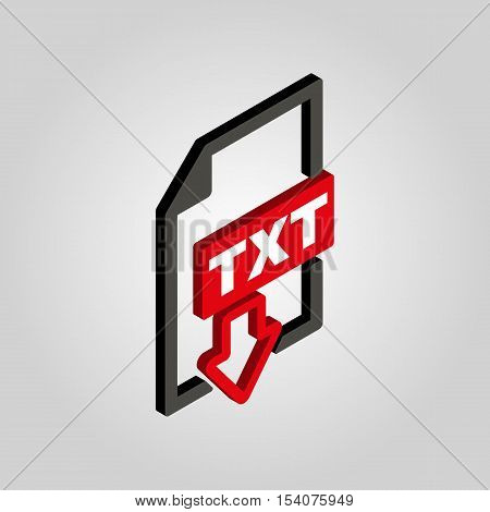 The TXT icon.3D isometric. Text file format symbol. Flat Vector illustration