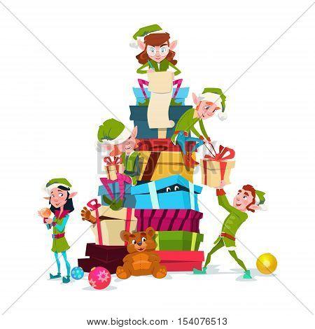 Christmas Elf Group Cartoon Character Santa Helper With Present Box Stack Flat Vector Illustration