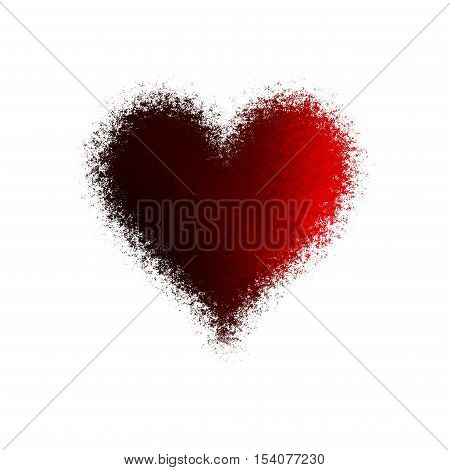 Beautiful abstract diffuse passion red heart on white background