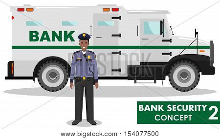 Detailed illustration of bank armored car and security guard on white background in flat style.