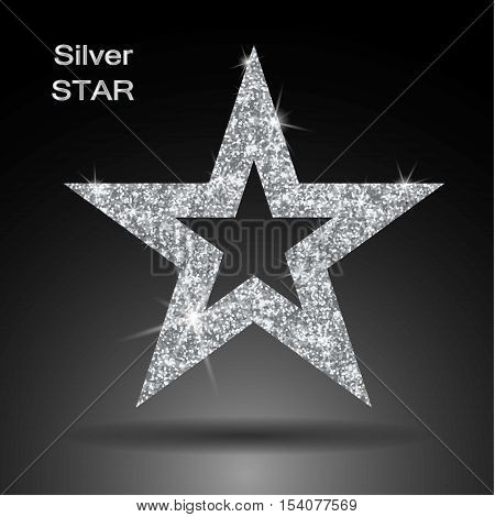 Silver star vector banner. Silver glitter . Template card vip exclusive certificate gift luxury privilege voucher store present shopping