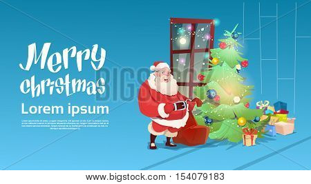 Santa Claus Put Presents Under Christmas Green Tree Greeting Card Decoration Happy New Year Banner Flat Vector Illustration