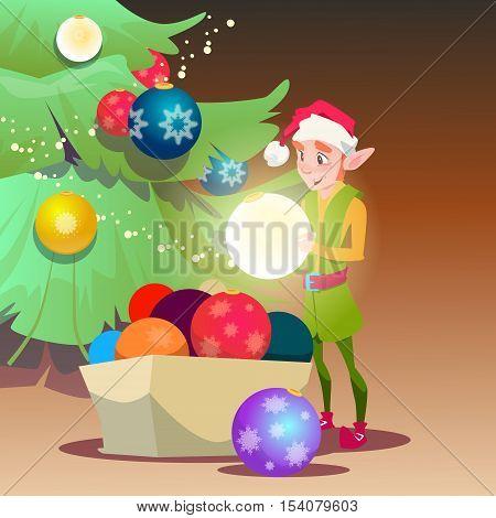 Green Santa Elf Helper Decorate Christmas Tree Greeting Card Decoration Happy New Year Banner Flat Vector Illustration