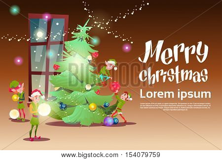 Green Elf Group Decorate Christmas Tree Greeting Card Decoration Happy New Year Banner Flat Vector Illustration