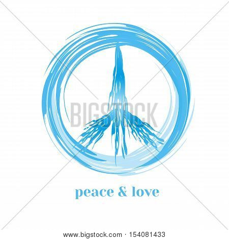 Peace symbol. Pacifist logo. Freedom concept. Antiwar international movement emblem. Social protest banner. Template for demonstration poster. Vector illustration
