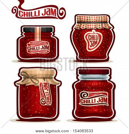 Vector logo Chilli Jam in Jars with paper lid, rustic Pot home made chilli pepper spice jams, twine bow, homemade hot chili jam jar, spicy sauce pot with label, checkered cloth cap, isolated on white.