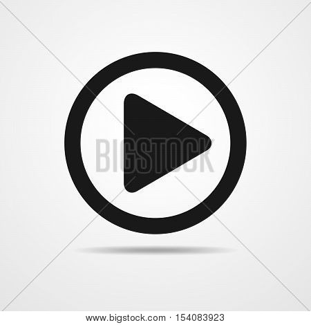 Play icon. Vector illustration. Audio or Video player sign. Button. Video Icon with Shadow.v