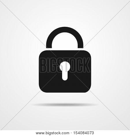 Black padlock icons. Black padlock icon with shadow. Vector illustration. Padlock sign on light background.