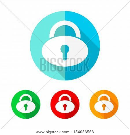 Set of colored padlock icons. White padlock icon with long shadow. Vector illustration. Padlock sign on a the round button.