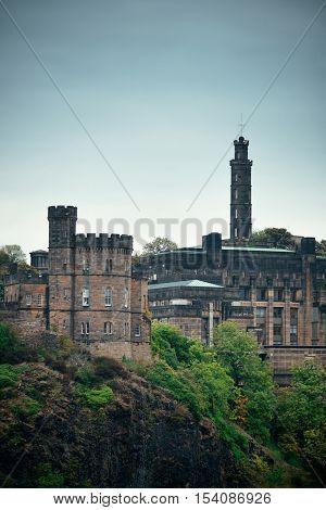 Calton Hill with Nelson monument in Edinburgh, United Kingdom.