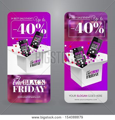 Black friday sale event. Set with banners web site. Corporate identity. Vector illustration with box confetti and smartphone