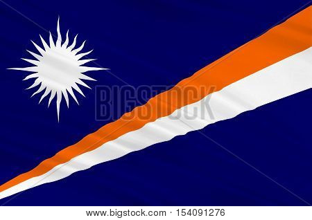 Flag of Marshall Islands Majuro. 3d illustration