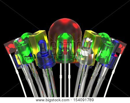 Composition from light emitting diodes isolated on black background
