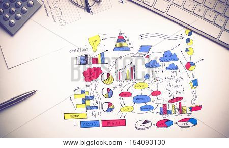 Color business strategy sketch on white background