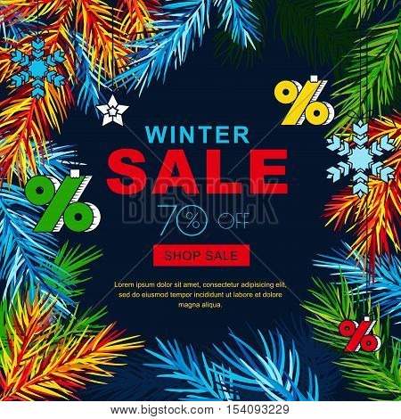 Winter sale banners with multicolor fir branches and sketch toys. Vector winter holidays poster background. Layout for discount labels flyers and shopping.