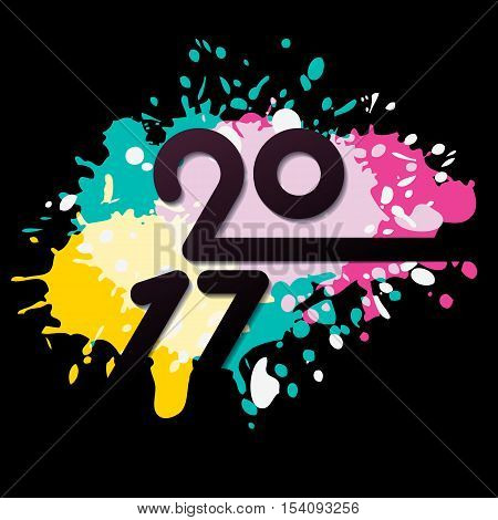 Vector New Year 2017 greeting card with multicolor watercolor background. Hand drawn abstract holiday illustration. Trendy concept for banner poster invitation flyer design.