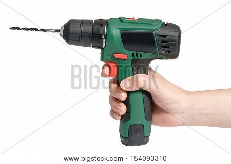 Electric cordless hand drill isolated on white