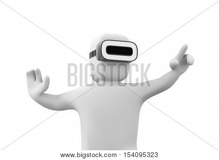 3d man wearing VR headset and experiencing virtual reality. Isolated on white background. 3d illustration