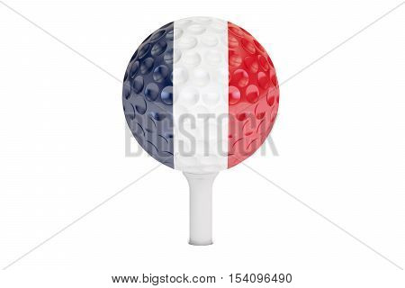 golf ball on a tee with flag of France 3D rendering isolated on white background