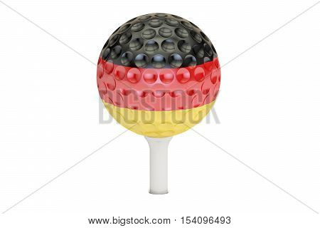 golf ball on a tee with flag of Germany 3D rendering isolated on white background