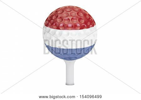 golf ball on a tee with flag of Netherlands 3D rendering isolated on white background