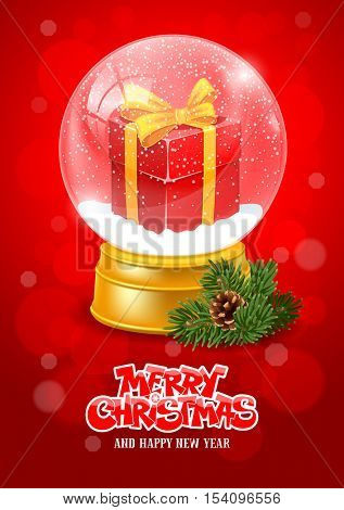 Christmas Greeting with Christmas Snow Globe. Magic Ball with Snow, Gift Box and Flying Snowflakes for your Christmas and New Year Designs. Realistic Vector Stock Illustration.