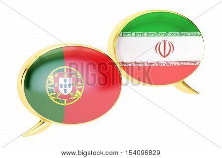 Speech bubbles Iranian-Portuguese translation concept. 3D rendering